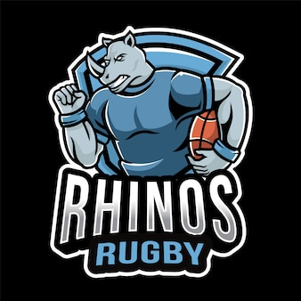 Modelo de logotipo de esporte de rugby de rinocerontes