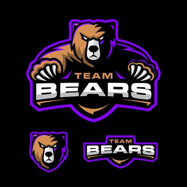 Modelo de logotipo de esporte de urso
