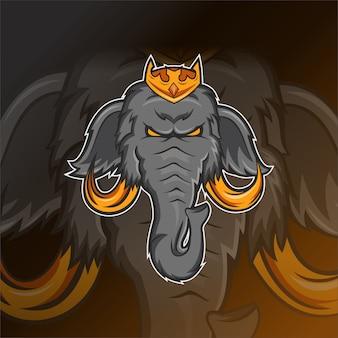 Modelo de logotipo de esporte e cabeça de elefante