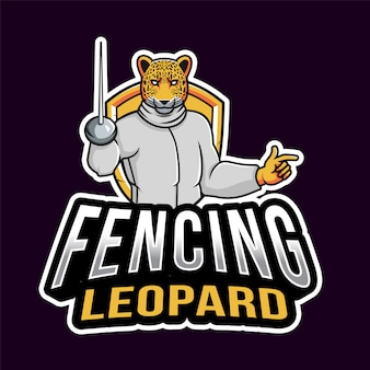 Modelo de logotipo de esporte leopardo