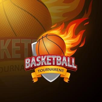 Modelo de logotipo de esportes basquete