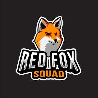 Modelo de logotipo de esquadrão de raposa vermelha