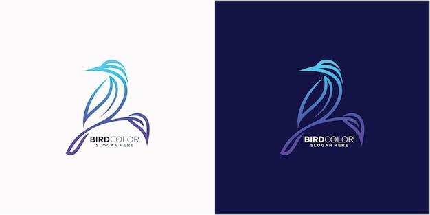 Modelo de logotipo de estilo de arte de linha de pássaro