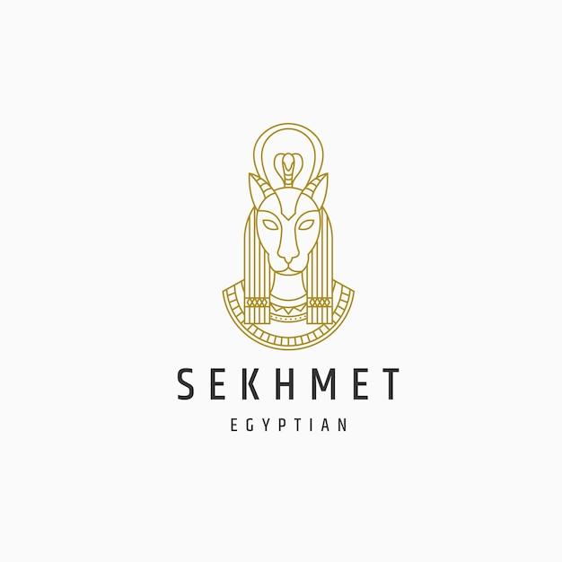 Modelo de logotipo de estilo de linha de goddes egípcio sekhmet