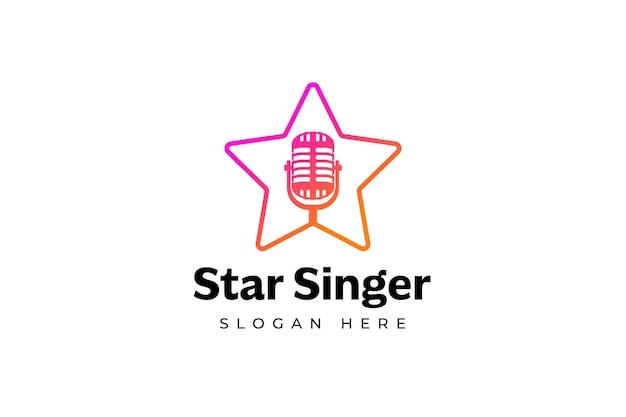 Modelo de logotipo de estrela do cantor silhueta de microfone dentro da estrela
