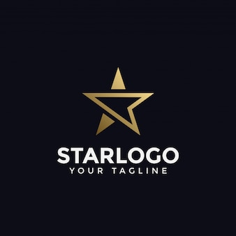 Modelo de logotipo de estrela dourada abstrata de luxo
