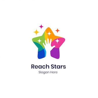Modelo de logotipo de estrelas de mão colorida