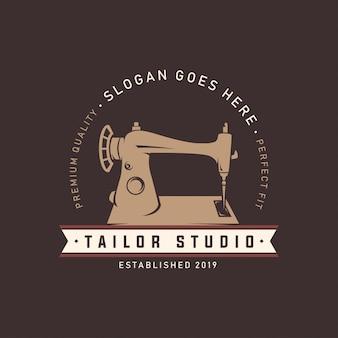 Modelo de logotipo de estúdio de alfaiate de máquina de costura
