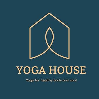 Modelo de logotipo de estúdio de ioga, vetor de design de marca de negócios de saúde e bem-estar
