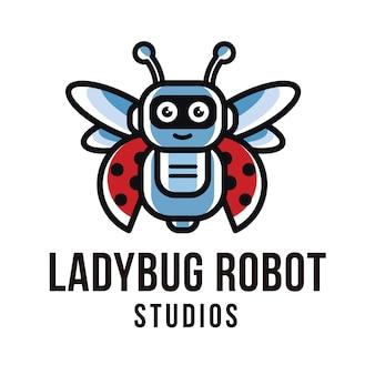 Modelo de logotipo de estúdios de robô joaninha