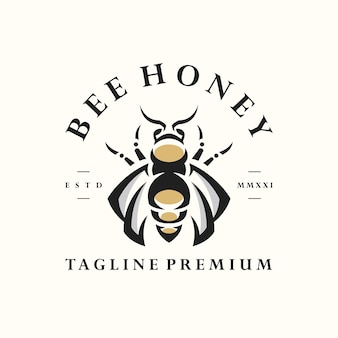 Modelo de logotipo de etiqueta vintage retrô de abelha hipster natural