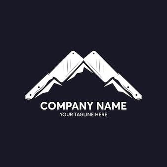 Modelo de logotipo de faca de montanha