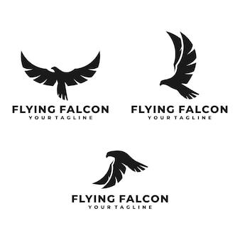 Modelo de logotipo de falcão voador