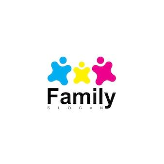 Modelo de logotipo de família e equipe de pessoas