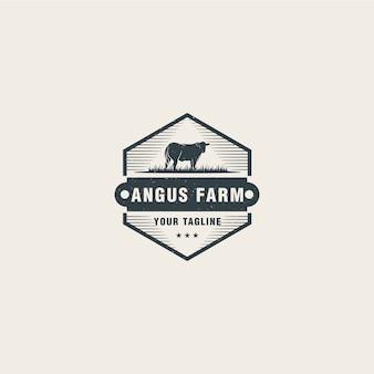 Modelo de logotipo de fazenda de angus
