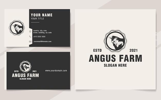 Modelo de logotipo de fazenda vintage de angus estilo monograma