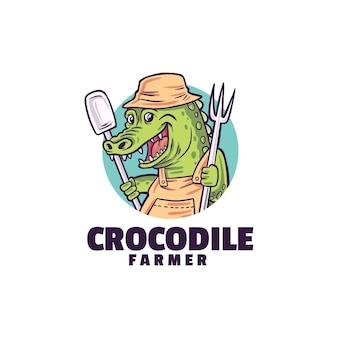 Modelo de logotipo de fazendeiro de crocodilo isolado no branco