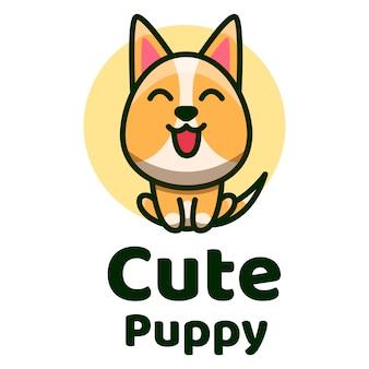 Modelo de logotipo de filhote de cachorro bonito