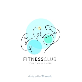 Modelo de logotipo de fitness com formas abstratas
