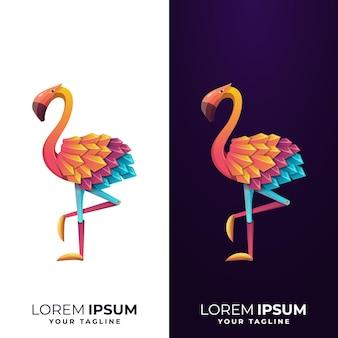 Modelo de logotipo de flamingo colorido