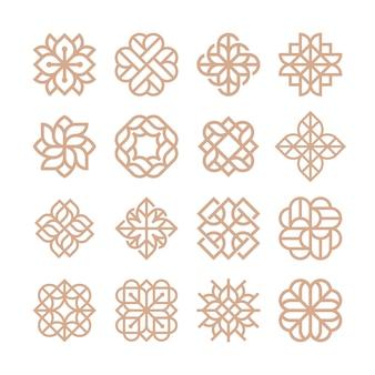 Modelo de logotipo de flor abstrata de luxo