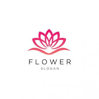 Modelo de logotipo de flor de lótus de luxo feminino