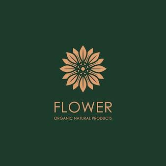 Modelo de logotipo de flor de ouro orgânico
