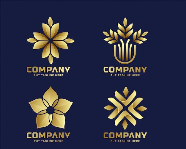 Modelo de logotipo de flor de ouro premium para empresa