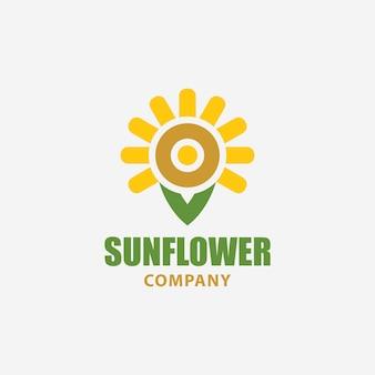 Modelo de logotipo de flor de sol