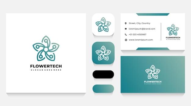 Modelo de logotipo de flor de tecnologia e cartão de visita