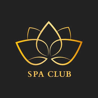 Modelo de logotipo de flor do spa club, vetor de design moderno ouro