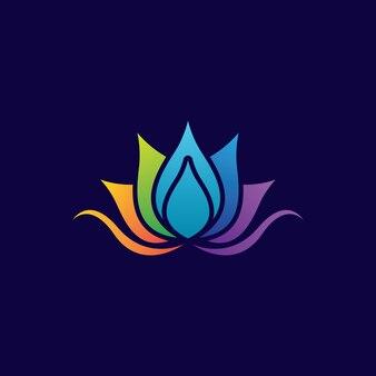 Modelo de logotipo de flor gradiente