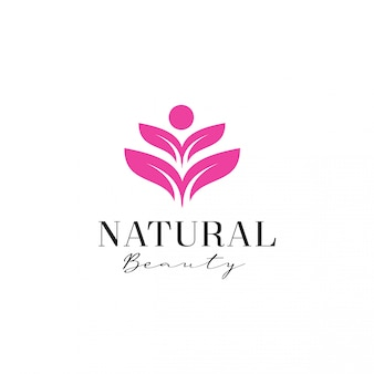 Modelo de logotipo de flor humana de beleza feminina
