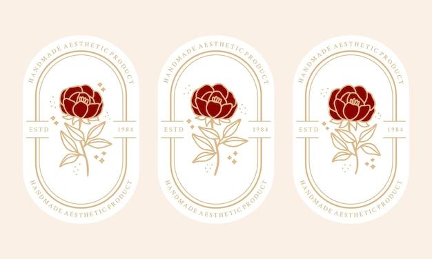 Modelo de logotipo de flor rosa botânica bege vintage desenhada à mão e coleção de elementos de marca de beleza feminina