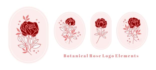 Modelo de logotipo de flor rosa botânica vintage desenhada à mão e coleção de elementos de marca de beleza feminina