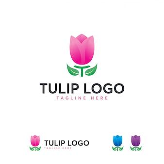 Modelo de logotipo de flor tulipa beleza