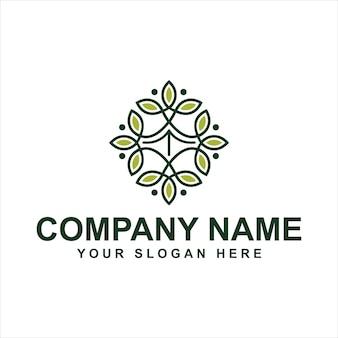 Modelo de logotipo de flor verde