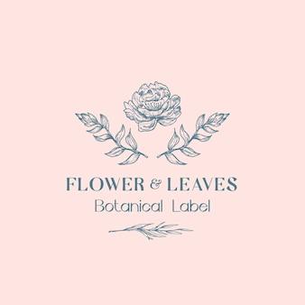 Modelo de logotipo de flores e folhas