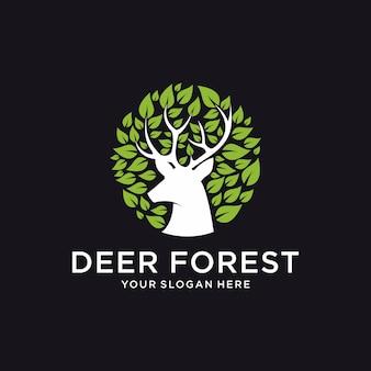 Modelo de logotipo de floresta de veado