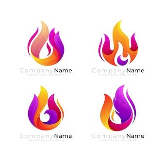 Modelo de logotipo de fogo abstrato, logotipo de chama com 3d colorido