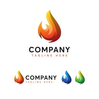 Modelo de logotipo de fogo de chamas