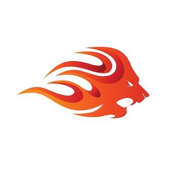 Modelo de logotipo de fogo de leão