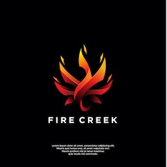 Modelo de logotipo de fogo gradiente
