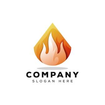 Modelo de logotipo de fogo triângulo