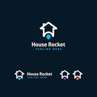 Modelo de logotipo de foguete de casa