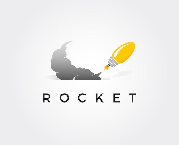 Modelo de logotipo de foguete de ideia mínima