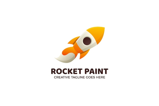 Modelo de logotipo de foguete de pintura com pincel