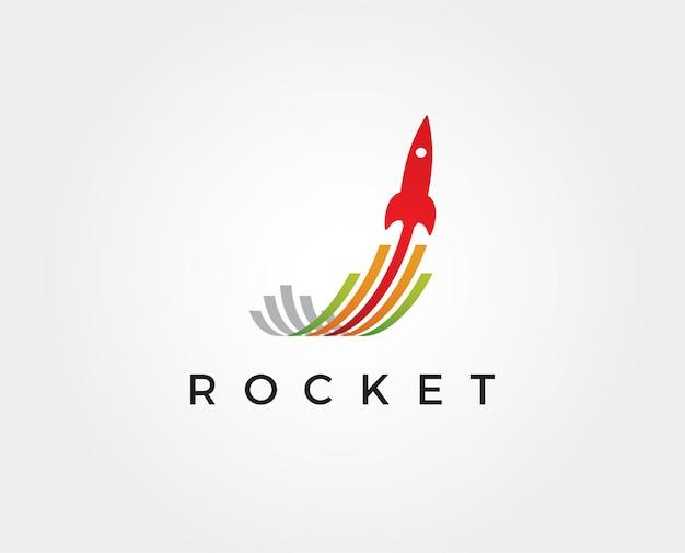 Modelo de logotipo de foguete mínimo