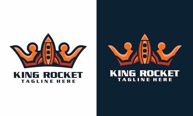 Modelo de logotipo de foguete rei