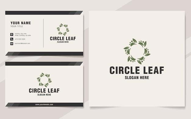 Modelo de logotipo de folha circular em estilo monograma